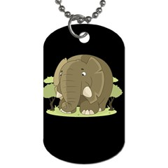 Cute Elephant Dog Tag (one Side) by Valentinaart