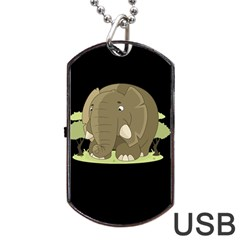 Cute Elephant Dog Tag Usb Flash (one Side) by Valentinaart