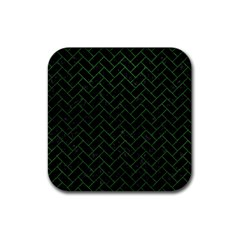 Brick2 Black Marble & Green Leather Rubber Square Coaster (4 Pack)  by trendistuff