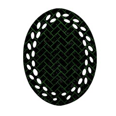 Brick2 Black Marble & Green Leather Oval Filigree Ornament (two Sides) by trendistuff
