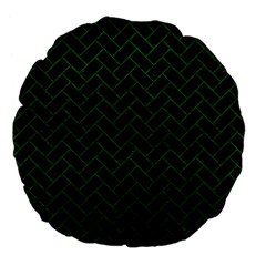 Brick2 Black Marble & Green Leather Large 18  Premium Flano Round Cushions by trendistuff