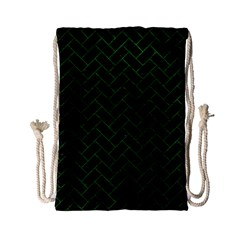 Brick2 Black Marble & Green Leather Drawstring Bag (small) by trendistuff