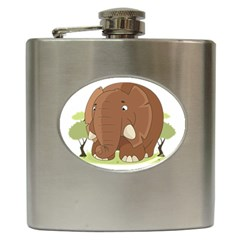 Cute Elephant Hip Flask (6 Oz) by Valentinaart