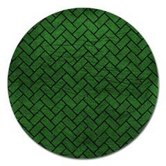 Brick2 Black Marble & Green Leather (r) Magnet 5  (round) by trendistuff