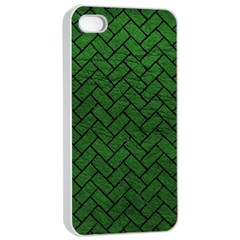 Brick2 Black Marble & Green Leather (r) Apple Iphone 4/4s Seamless Case (white) by trendistuff