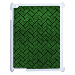 Brick2 Black Marble & Green Leather (r) Apple Ipad 2 Case (white) by trendistuff