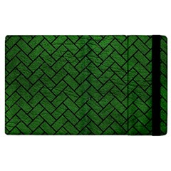 Brick2 Black Marble & Green Leather (r) Apple Ipad 2 Flip Case by trendistuff