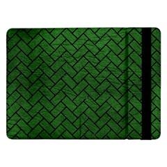 Brick2 Black Marble & Green Leather (r) Samsung Galaxy Tab Pro 12 2  Flip Case by trendistuff