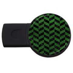 Chevron1 Black Marble & Green Leather Usb Flash Drive Round (2 Gb) by trendistuff