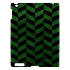Chevron1 Black Marble & Green Leather Apple Ipad 3/4 Hardshell Case by trendistuff