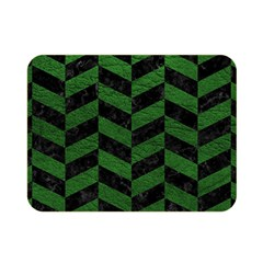 Chevron1 Black Marble & Green Leather Double Sided Flano Blanket (mini)  by trendistuff