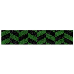 Chevron1 Black Marble & Green Leather Flano Scarf (small) by trendistuff