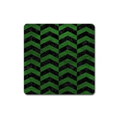 Chevron2 Black Marble & Green Leather Square Magnet by trendistuff