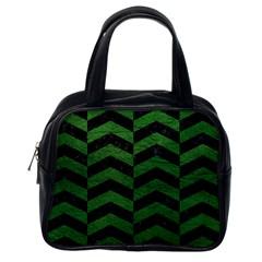 Chevron2 Black Marble & Green Leather Classic Handbags (one Side) by trendistuff