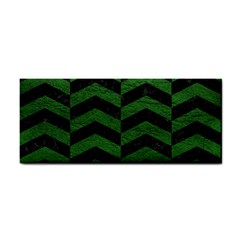 Chevron2 Black Marble & Green Leather Cosmetic Storage Cases by trendistuff