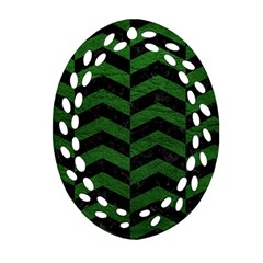 Chevron2 Black Marble & Green Leather Oval Filigree Ornament (two Sides) by trendistuff
