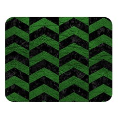 Chevron2 Black Marble & Green Leather Double Sided Flano Blanket (large)  by trendistuff