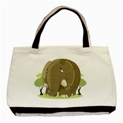 Cute Elephant Basic Tote Bag (two Sides) by Valentinaart