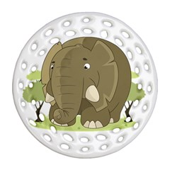 Cute Elephant Ornament (round Filigree) by Valentinaart
