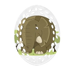 Cute Elephant Oval Filigree Ornament (two Sides) by Valentinaart