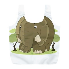 Cute Elephant Full Print Recycle Bags (l)  by Valentinaart