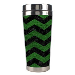 Chevron3 Black Marble & Green Leather Stainless Steel Travel Tumblers by trendistuff