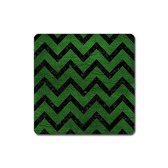 Chevron9 Black Marble & Green Leather (r) Square Magnet by trendistuff