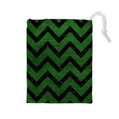 Chevron9 Black Marble & Green Leather (r) Drawstring Pouches (large)  by trendistuff