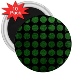 Circles1 Black Marble & Green Leather 3  Magnets (10 Pack)  by trendistuff