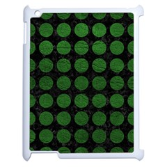 Circles1 Black Marble & Green Leather Apple Ipad 2 Case (white) by trendistuff