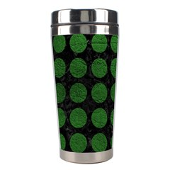 Circles1 Black Marble & Green Leather Stainless Steel Travel Tumblers by trendistuff