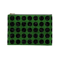 Circles1 Black Marble & Green Leather (r) Cosmetic Bag (large)  by trendistuff
