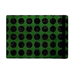 Circles1 Black Marble & Green Leather (r) Apple Ipad Mini Flip Case by trendistuff