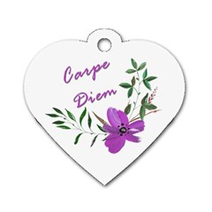 Carpe Diem  Dog Tag Heart (one Side) by Valentinaart