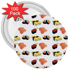 Sushi Pattern 3  Buttons (100 Pack)  by Valentinaart