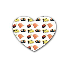 Sushi Pattern Rubber Coaster (heart)  by Valentinaart