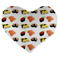 Sushi Pattern Large 19  Premium Flano Heart Shape Cushions by Valentinaart