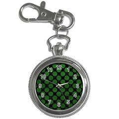 Circles2 Black Marble & Green Leather Key Chain Watches by trendistuff