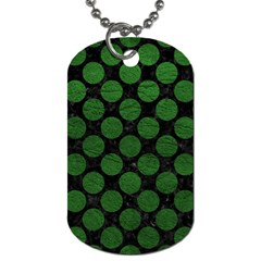 Circles2 Black Marble & Green Leather Dog Tag (one Side) by trendistuff
