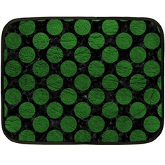 Circles2 Black Marble & Green Leather Double Sided Fleece Blanket (mini)  by trendistuff