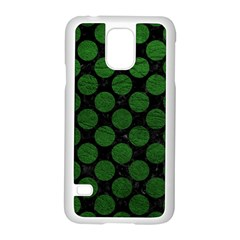 Circles2 Black Marble & Green Leather Samsung Galaxy S5 Case (white) by trendistuff