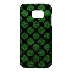 Circles2 Black Marble & Green Leather Samsung Galaxy S7 Edge Hardshell Case
