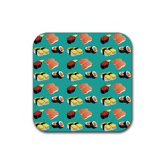 Sushi Pattern Rubber Square Coaster (4 Pack)  by Valentinaart