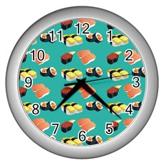 Sushi Pattern Wall Clocks (silver)  by Valentinaart