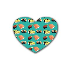 Sushi Pattern Heart Coaster (4 Pack)  by Valentinaart