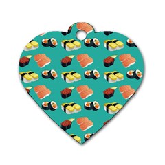 Sushi Pattern Dog Tag Heart (one Side) by Valentinaart