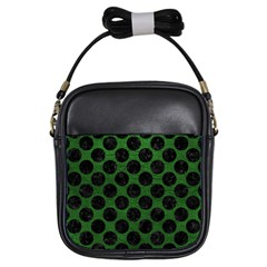Circles2 Black Marble & Green Leather (r) Girls Sling Bags by trendistuff