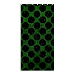 Circles2 Black Marble & Green Leather (r) Shower Curtain 36  X 72  (stall)  by trendistuff