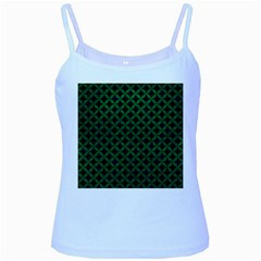 Circles3 Black Marble & Green Leather Baby Blue Spaghetti Tank