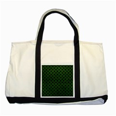 Circles3 Black Marble & Green Leather Two Tone Tote Bag by trendistuff